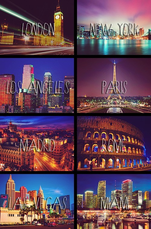 city, las vegas, london, los angeles, madrid, miami, new york, paris, rome, world