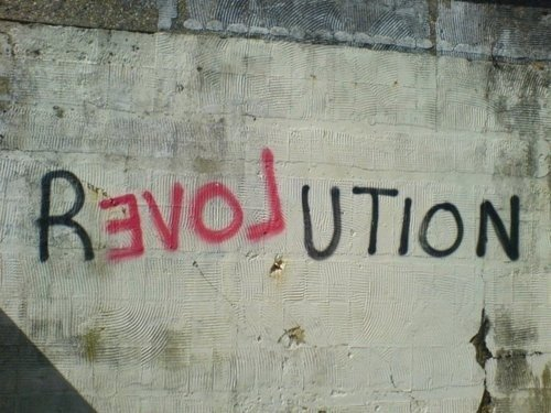 love, red, revolution, spray paint, street, street art, wall