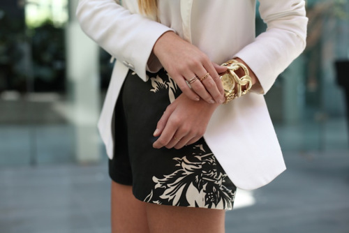 michael kors, black, black and white, blazer