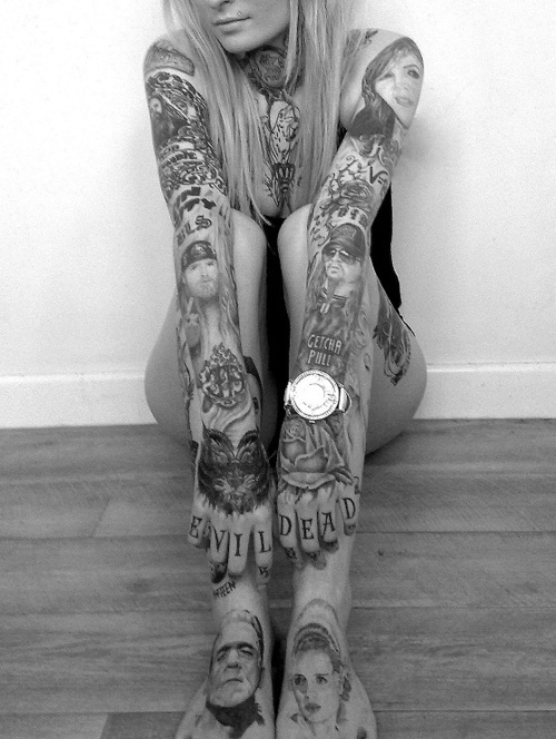 piercings, tattoos, arms, black and white