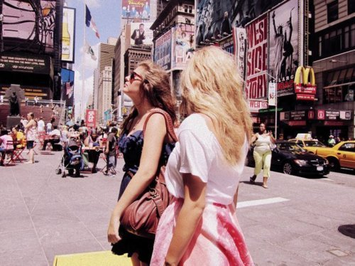 beautiful, cool, fashion, friends, girl, head, new york, pretty, style, summer, sun, sunny, times square
