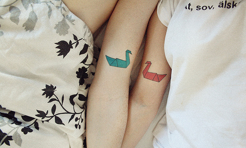 arm, friends, girls, ink, origami, swan, tattoo, tattoos