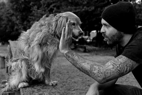 tattoos, alternative, black and white, dog