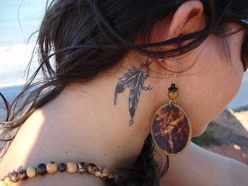 beautiful, earring, earrings, feather, girl, hipster, indie, neck, photo, summer, tattoo, tattoos, tribal