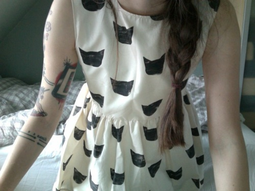 tattoos, braid, cats, dress