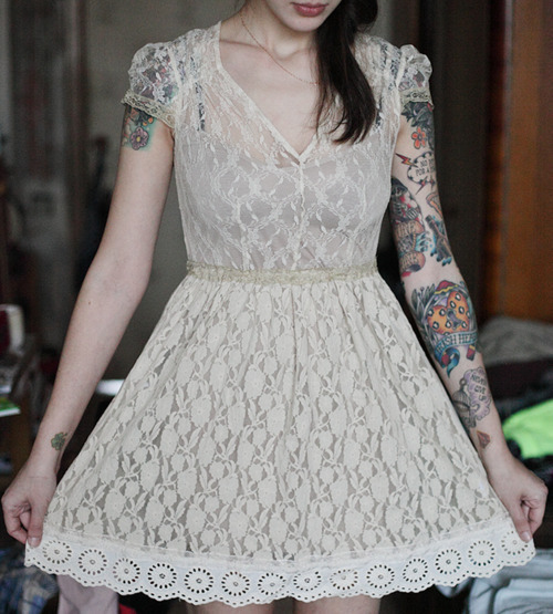 cute, dress, fashion, girl, laces, photography, style, tattoos