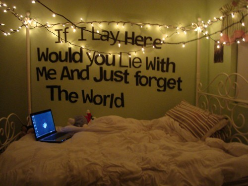 beautiful, bed, forget, if, laptop, lay, lie, lights, me, snow patrol, tou, world