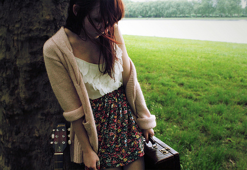 abstract, adorable, auburn, beautiful, brunette, cardigan, cute, dress, fashion, floral prints, girl, girly, gorgeous, grass, guitar, jacket, lovely, messy hair, nature, pretty, red hair, ruffles, skirt, suitcase, sweater, sweet