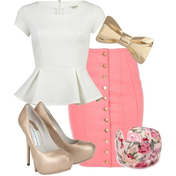 accessories, beautiful, cute, darling, dress-up, ensemble, fancy, fashion, feminine, floral, floral cuff bracelet, girlie, gold heels, high heels, jewels, mini, outfit, pencil skirt, pin-up, pink, pink skirt, style, sweet, vintage, white top