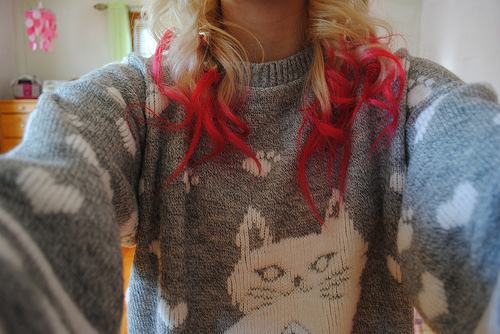 amazing, beautiful, blonde, cat sweater, dye hair, fashion, girl, hair, hair style, photography, pink hair, red hair, style, tumblr hair, vintage