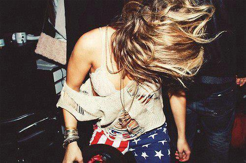 america, blond, flag, hair
