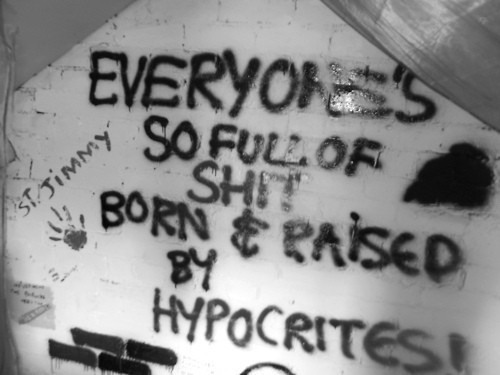 anarchy, b&w, black, black and white, black&white, born and raised, by, everyone, gray, grey, hand print, hypocrites, inspirational, jesus of suburbia, letters, paint, people, quote, so full of shirt, spray paint, st jimmy, teen, text, wall, white, words