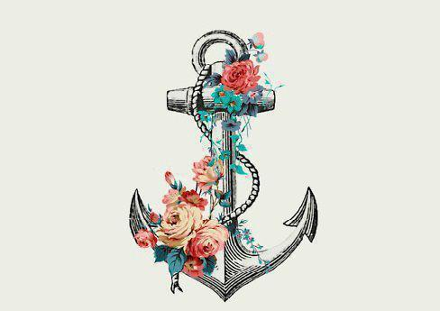 anchor, art, b&w, black, black and white, cool, cute, doodle, drawing, flower, flowers, illustration, love, ocean, pretty, rope, rose, sea, vintage, water, white