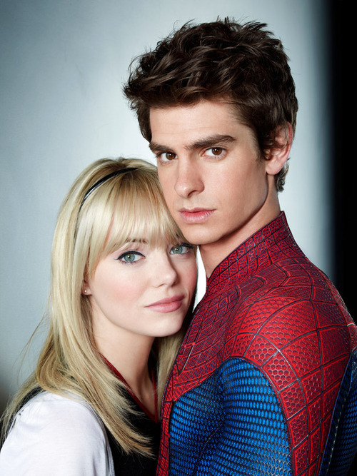 andrew garfield, cute, emma stone, love, spiderman, the amazing spiderman