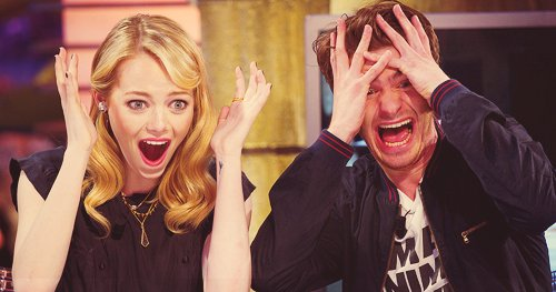 andrew garfield, emma stone, shock, spiderman