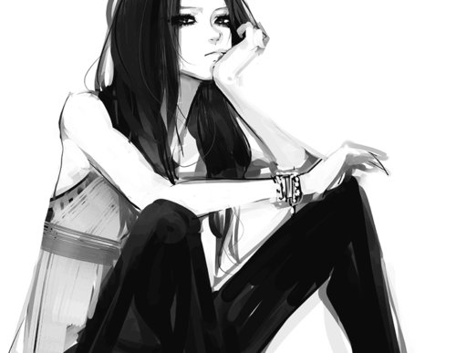 anime girl, black and white