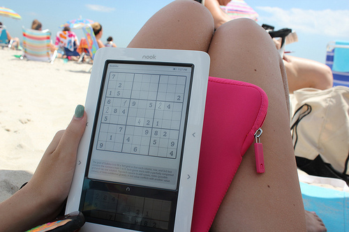 apple, apple not, beach, colorful, game, holiday, ipad, pad, palm tree, phrase, pink case, quote, sand, saying, sudoku, summer
