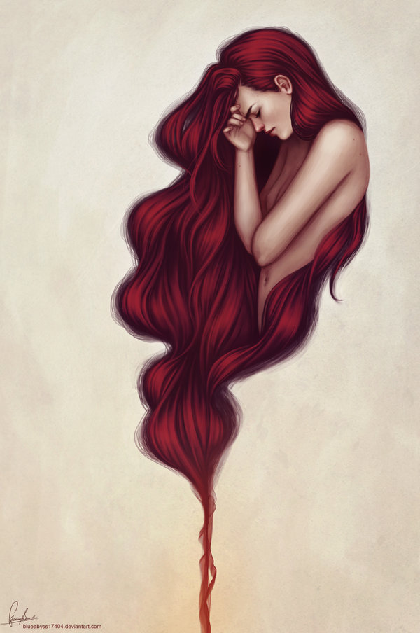 art, drawing, floating, flowing, girl, long hair, painting, red, red hair, woman