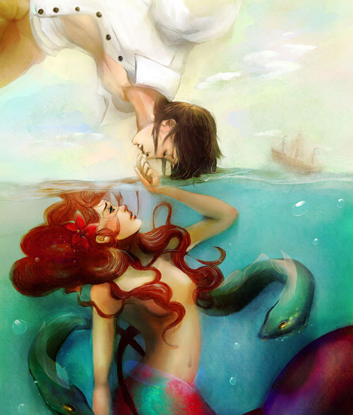 art, illustration, little mermaid, painting
