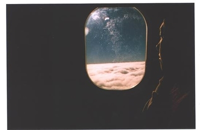 avion, clouds, girl, light, night, plane, sky, travel