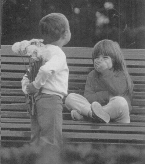 aww, bench, black & white, children, cute, flowers, kids, like, love, photo, romance, young boy, young girl, young love