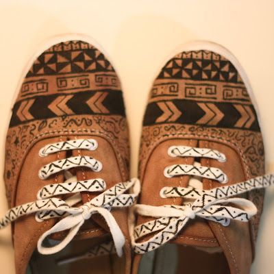 aztec, aztec shoes, diy, tribal