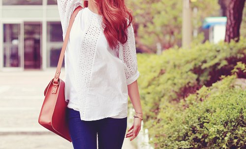 bag, blouse, cute, fashion, k-fashion, kfashion, korea, korean, lace, pretty, purse, satchel, stylish, white