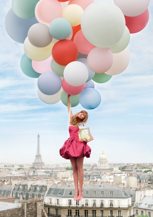 ballon, city, girl, paris