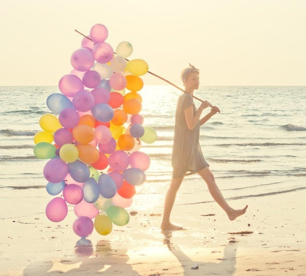 balloons, beach, girl, photography, sea