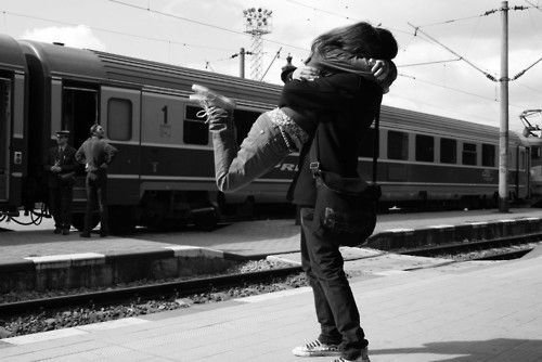 b&w, beautiful, black and white, couple, cute, hug, jump, love, photography, train