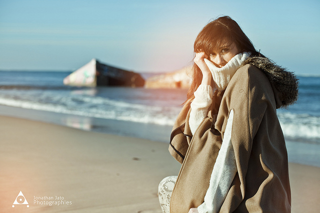 beach, beautiful, coat, cold