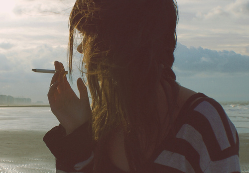 beach, cute, girl, hipster, indie, photography, sea, sky, smoke, smoking