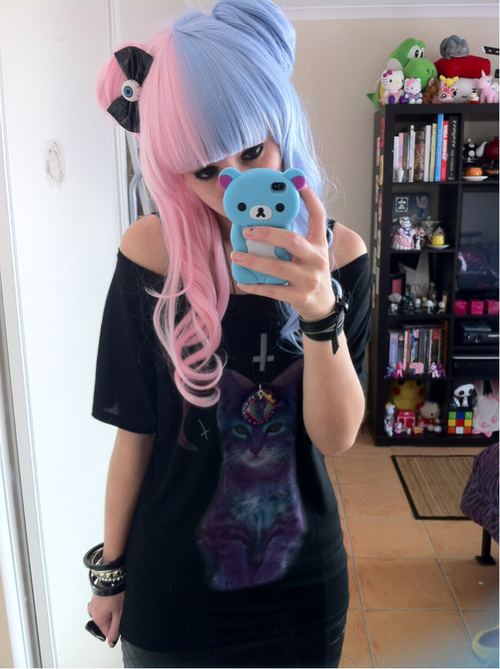 bear, black, blue, cat, colored hair, cross, cute, fashion, game, girl, hair, iphone, japan, kawaii, photo, photography, pink, pretty, sexy, style, t-shirt, two tone, ulzzang, white