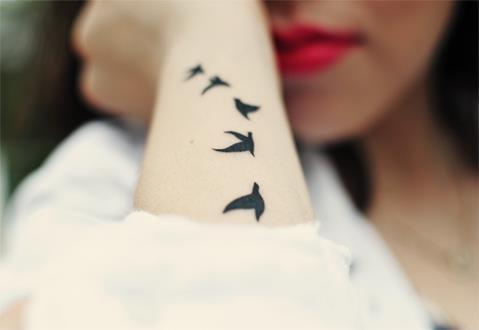 beautiful, birds, fashion, girl, red lips, tattoo