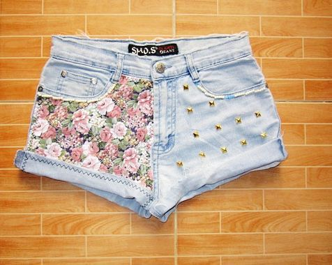 beautiful, bling, fashion, flag print, floral print jean shorts, girls, jeans, jeans short, lace jeans short, photo, photography, sexy, shorts, studded denim, studded jeans short, style, summer