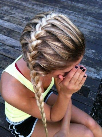 beautiful, blonde, braids, faceless