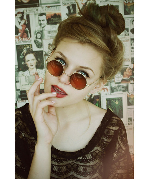 beautiful, blonde, cute, eyes, girl, glasses, hair, make up, pretty, style, vintage, woman