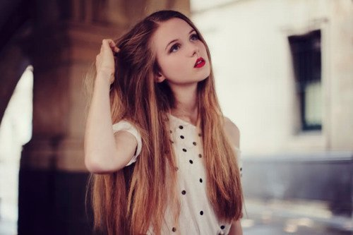 beautiful, blonde, girl, long hair, lovely, red lips, white