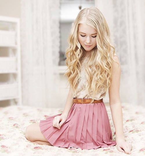 beautiful, blonde, girl, pink, pretty