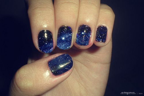 beautiful, blue, cute, fashion, galaxy, hipster, nails, perfect, pretty