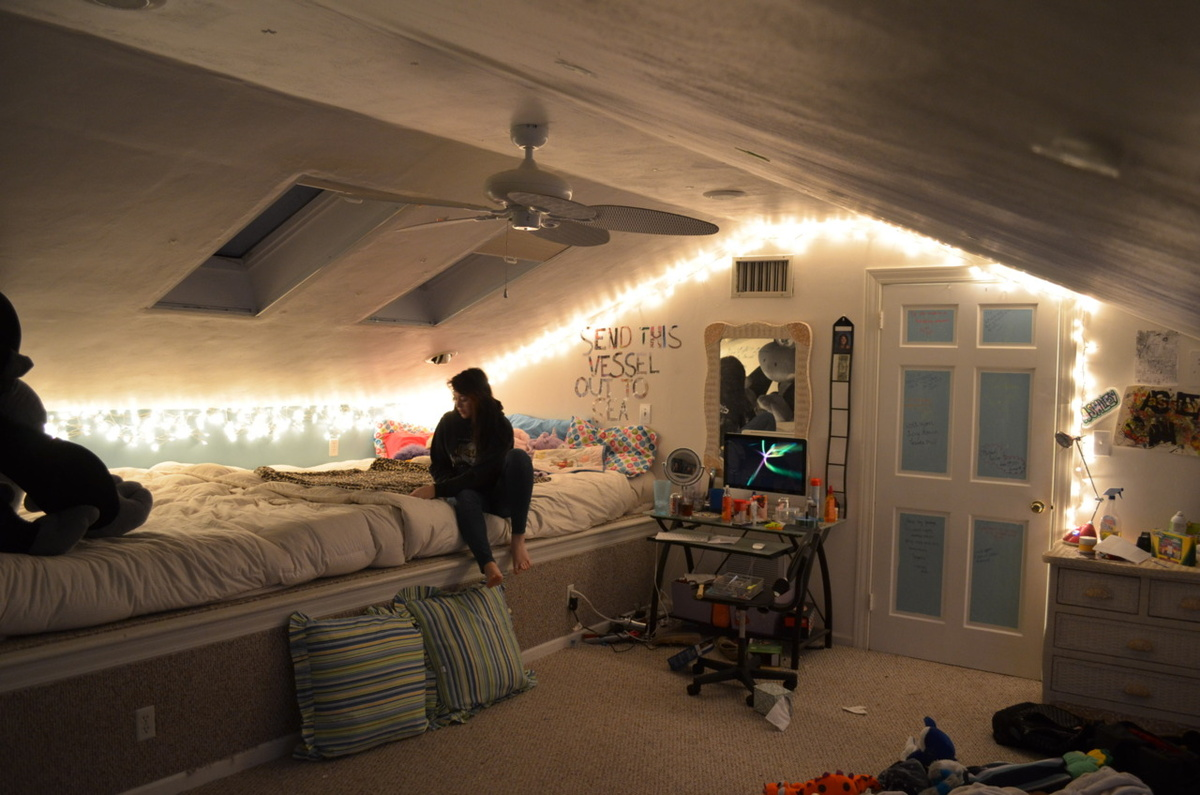 Attic Bedroom Decoration Of All New Diy Room Decor With Lights Diy Room Decor