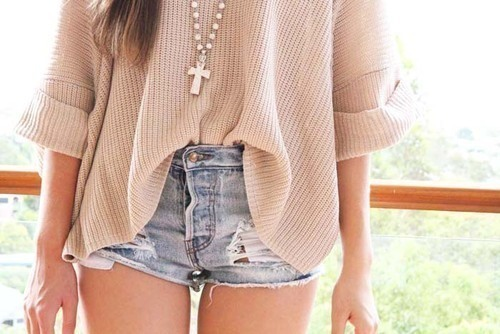 beige, cross necklace, cute, denim
