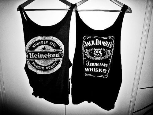 black and white, fashion, heineken, t-shirt