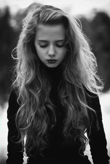 black and white, girl, sad
