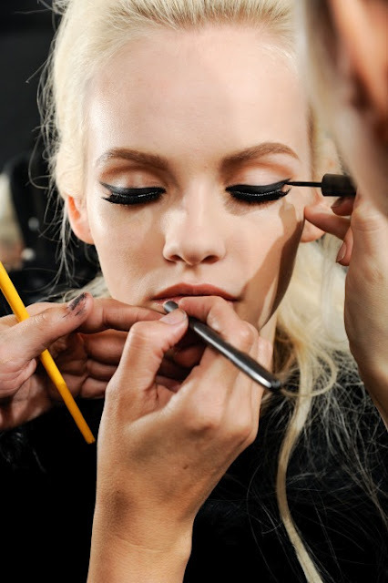black, blonde, blonde hair, cool, doll, eye lines, eyelines, face, fake lashes, fashion backstage, ginta lapina, lashes, lips, make-up, model, perfect, pretty