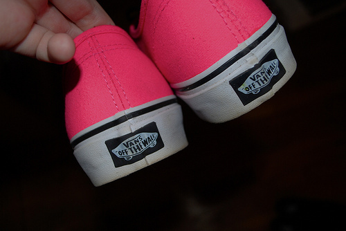 black, by barbie, cute, girl, photography, pink, pink shoes, shoes, vans, vans off the wall, white