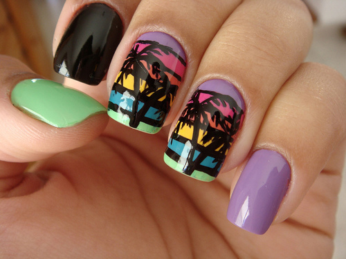 black, green, nails, purple