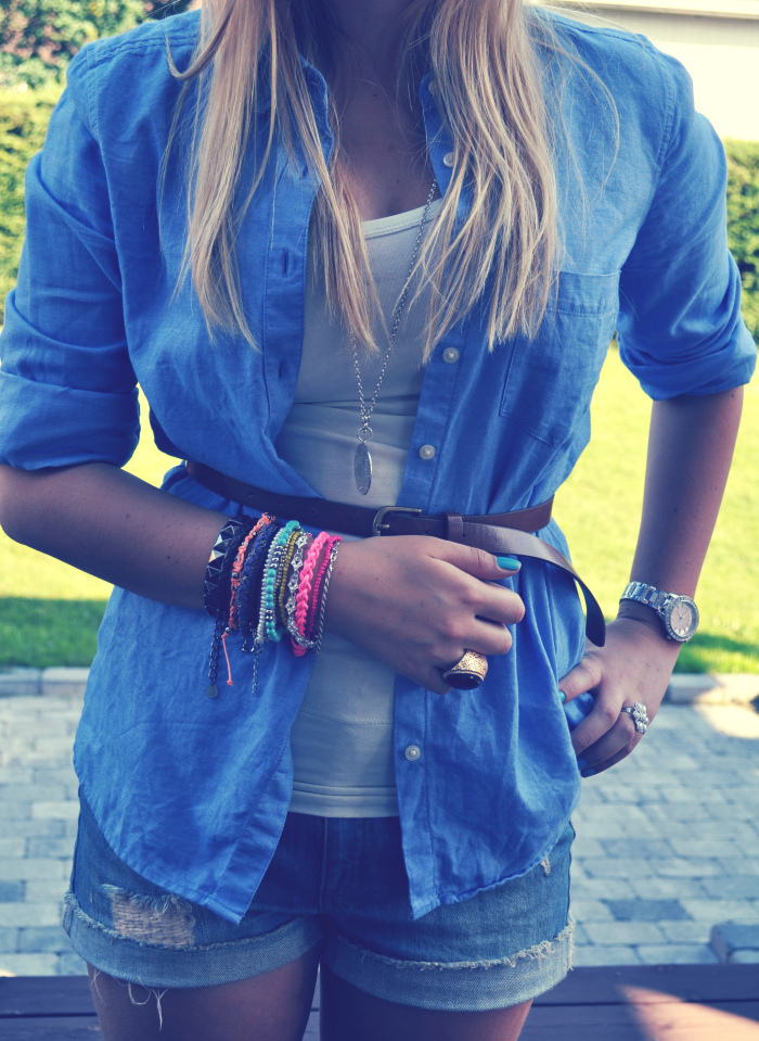 blond, blue, bracelet, color