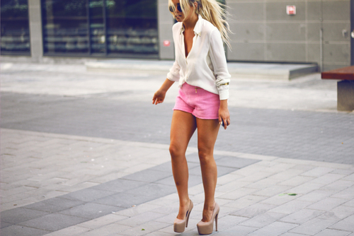 blonde, cool, fashion, girl, glamour, hair, heels, minty, pink, pretty, shoes, style, woman