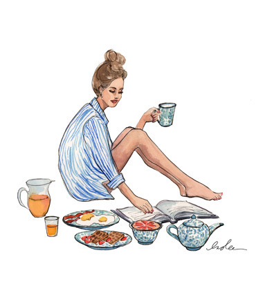 blue, book, boyfriend, breakfast, bun, coffee, egg, fresh, girl, ham, happiness, morning, orange, orange juice, perfect, read, reading, shirt, style, topknot, white